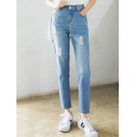 cheap High Waist Loose Fitting Ninth Ripped Jeans