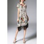 Floral Asymmetric Fringed Dress With Cami Dress for sale