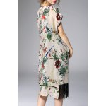 cheap Floral Asymmetric Fringed Dress With Cami Dress