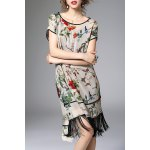 Floral Asymmetric Fringed Dress With Cami Dress