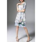 Sweetheart Collar Beading Printed Dress for sale