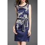 Voile Spliced Floral Embroidery Bowknot Dress deal