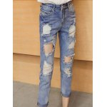 cheap High Waist Loose Fitting Hole Design Ninth Ripped Jeans