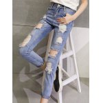 High Waist Loose Fitting Hole Design Ninth Ripped Jeans deal