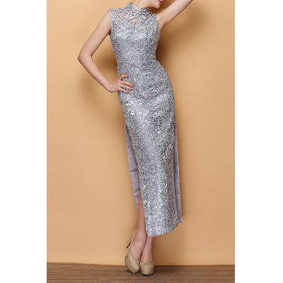 Sequined Slit Maxi Prom Dress