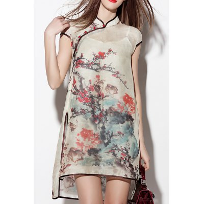 Slit Floral See Thru Dress