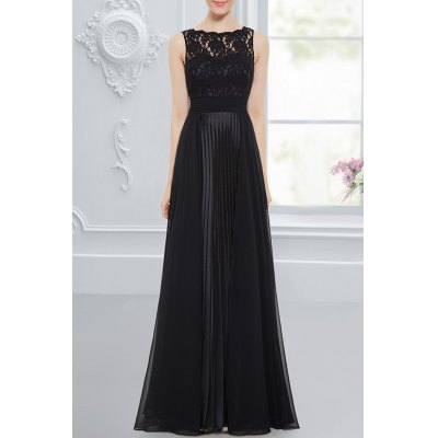 Lace Mesh Splicing Evening Dress
