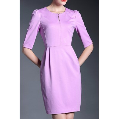 Solid Color 1/2 Sleeve Dress