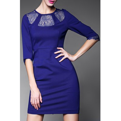 Lace Spliced Sheath Dress