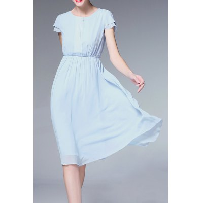 Solid Color Ruched Defined Dress