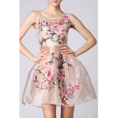 Floral Embroidered Ruched Sleeveless Dress
