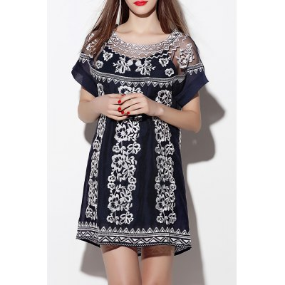 See Through Flower Embroidered Dress