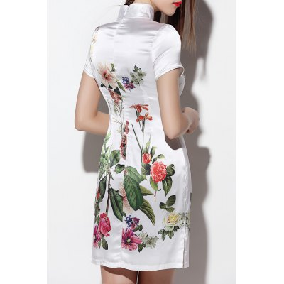 Floral Mini Silk QipaoDesigner Dresses<br>Floral Mini Silk Qipao<br><br>Style: Vintage<br>Occasion: Day,Work<br>Material: Polyester,Silk<br>Composition: Outer Composition:100% Silk&lt;br&gt;Lining Composition:100% Polyester<br>Neckline: Stand<br>Silhouette: Sheath<br>Dresses Length: Mini<br>Sleeve Length: Short Sleeves<br>Pattern Type: Floral<br>With Belt: No<br>Season: Summer<br>Weight: 0.470kg<br>Package Contents: 1 x Qipao