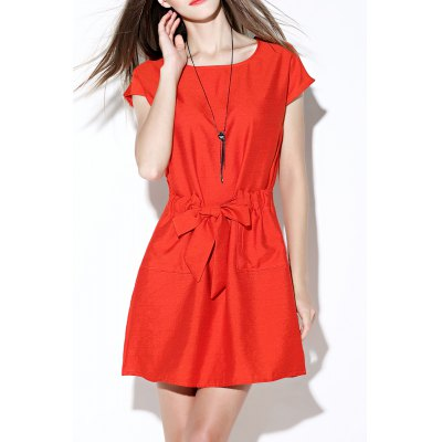 Tie Front Solid Color Dress