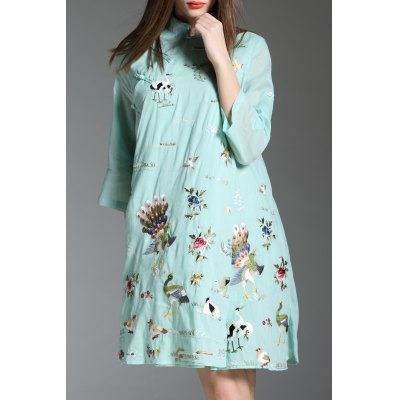 Peacock and Floral Embroidered Dress