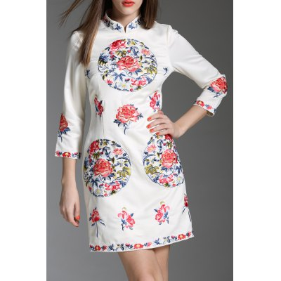 Flower Embroidered Stand Collar Mini Dress
