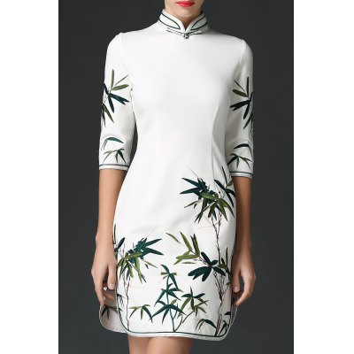 Leaves Embroidered Stand Collar Dress