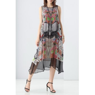 Double Side Layered Print Dress
