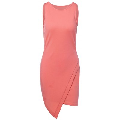 Round Neck Sleeveless Asymmetric Dress For Women