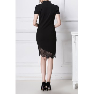 Lace Spliced Ruched Bodycon DressDesigner Dresses<br>Lace Spliced Ruched Bodycon Dress<br><br>Style: Sheath<br>Occasion: Cocktail &amp; Party,Night Out<br>Material: Cotton,Polyester,Spandex<br>Composition: 5% Spandex,20% Polyester,75% Cotton<br>Dresses Length: Knee-Length<br>Neckline: V-Neck<br>Sleeve Length: Short Sleeves<br>Pattern Type: Patchwork<br>With Belt: No<br>Season: Spring,Summer<br>Weight: 0.220kg<br>Package Contents: 1 x Dress