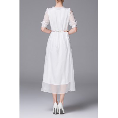 Single Breasted See Thru Midi DressDesigner Dresses<br>Single Breasted See Thru Midi Dress<br><br>Style: A Line<br>Occasion: Beach &amp; Summer,Casual<br>Material: Silk<br>Composition: 100% Silk<br>Dresses Length: Mid-Calf<br>Neckline: Jewel Neck<br>Sleeve Length: Half Sleeves<br>Pattern Type: Others<br>With Belt: Yes<br>Season: Spring,Summer<br>Weight: 0.250kg<br>Package Contents: 1 x Dress  1 x Belt
