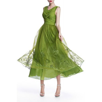 Embroidery Tulle Maxi Dress