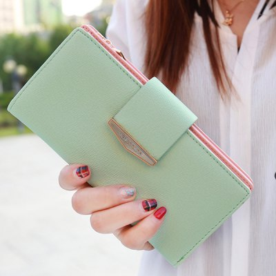 Concise Solid Color and Zip Design Clutch Wallet For Women