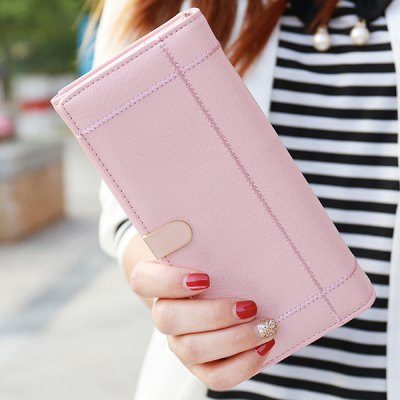 Sweet Stitching and Cover Design Clutch Wallet For Women