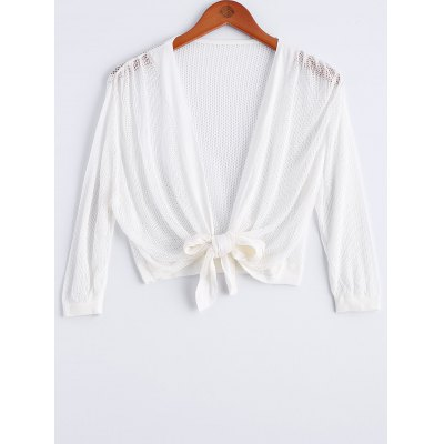 Tie Front Cropped Collarless Cardigan