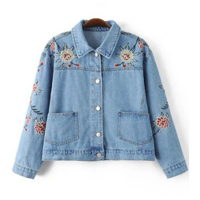 Embroidered Single Breasted Denim Jacket