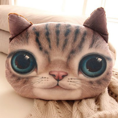 Lifelike Couch Decoration 3D Cat Shape Design Detachable Pillow