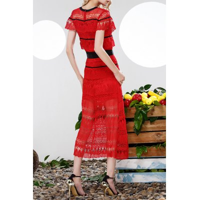 Waisted Corset Ruffles Lace DressDesigner Dresses<br>Waisted Corset Ruffles Lace Dress<br><br>Style: A Line<br>Occasion: Cocktail &amp; Party<br>Material: Polyester<br>Composition: 100%Polyester<br>Dresses Length: Ankle-Length<br>Neckline: Round Collar<br>Sleeve Length: Short Sleeves<br>Pattern Type: Patchwork<br>With Belt: No<br>Season: Summer<br>Weight: 0.330kg<br>Package Contents: 1 x Dress