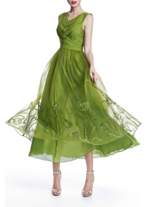 Embroidered Maxi Organza Dress