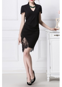 Lace Spliced Ruched Bodycon Dress