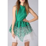 Stand Collar Cut Out Layered Dress