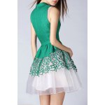 Stand Collar Cut Out Layered Dress deal
