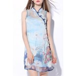 Flower Print Button Design Dress