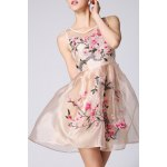 See Through Floral Embroidered Sleeveless Dress deal