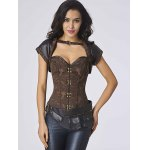 Chic Short Sleeves Jacquard Stud Embellished Women's Bustier