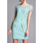 Lace Flower Embellished Cut Out Dress deal