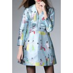 V Neck Figure Print Pleated Dress deal