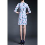 cheap Ruched Floral Sheath Dress