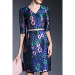 1/2 Sleeve Printed Sheath Dress