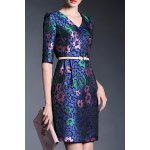 1/2 Sleeve Printed Sheath Dress deal