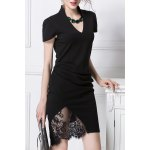 Lace Spliced Ruched Bodycon Dress deal