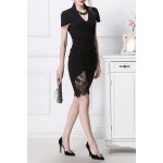 Lace Spliced Ruched Bodycon Dress for sale