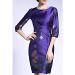 Sheath Ruched Floral Dress