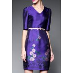Half Sleeve Bodycon Floral Dress