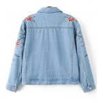 cheap Stylish Embroidered Single Breasted Women's Denim Jacket