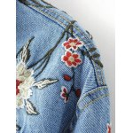 Stylish Embroidered Single Breasted Women's Denim Jacket for sale